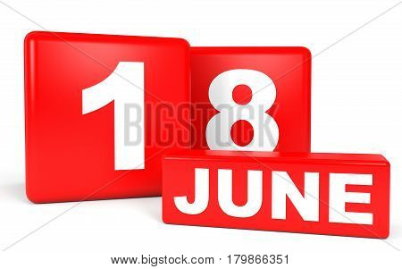 June 18. Calendar On White Background.