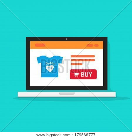 E-commerce shop, online store on laptop computer vector illustration, internet shop website on computer screen, product page, concept of ecommerce