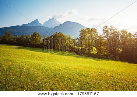 Scenic surroundings near the Konigsee lake. Wonderful day and gorgeous scene. Location place Berchtesgaden land Bavaria, Germany alp, famous Watzmann, sightseeing Europe. Explore the world's beauty.
