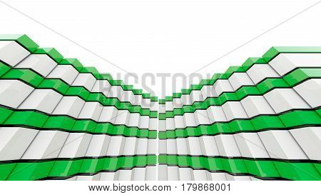 Futuristic green and white architecture background. 3D rendering.