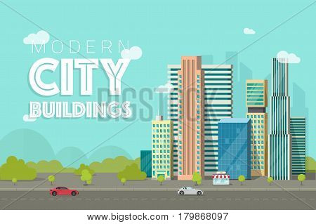 Buildings city vector illustration, flat cartoon style modern skyscrapers near forest trees panorama, cityscape architecture, urban street