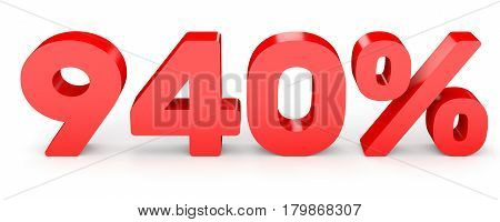 Nine Hundred And Forty Percent. 940 %. 3D Illustration.