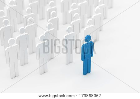 Leadership concept blue leader man standing out from the crowd of white mans on white and blurred background. 3D rendering.