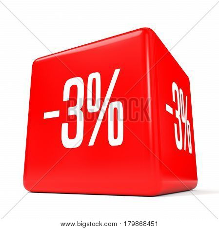 Three Percent Off. Discount 3 %. Red Cube.
