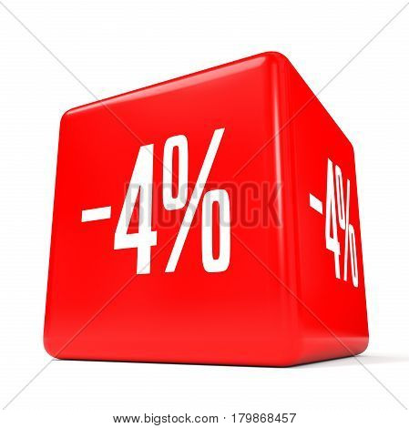 Four Percent Off. Discount 4 %. Red Cube.