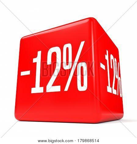 Twelve Percent Off. Discount 12 %. Red Cube.
