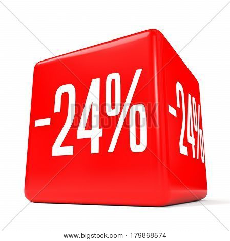 Twenty Four Percent Off. Discount 24 %. Red Cube.