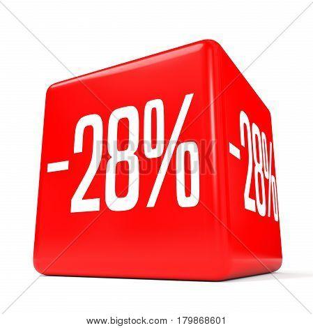 Twenty Eight Percent Off. Discount 28 %. Red Cube.