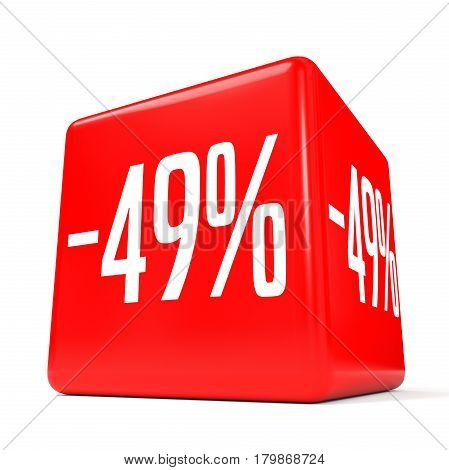 Forty Nine Percent Off. Discount 49 %. Red Cube.