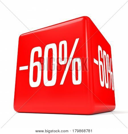 Sixty Percent Off. Discount 60 %. Red Cube.