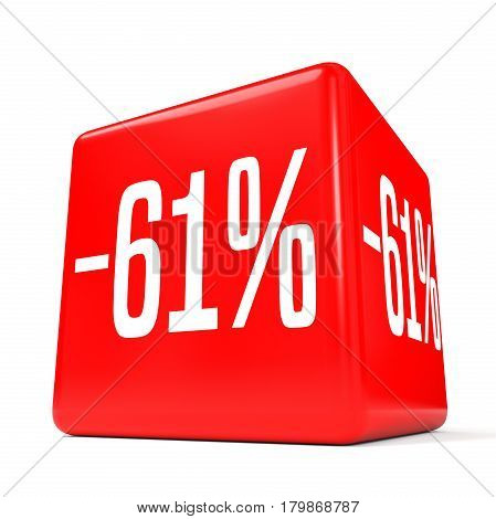 Sixty One Percent Off. Discount 61 %. Red Cube.