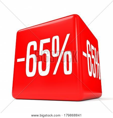 Sixty Five Percent Off. Discount 65 %. Red Cube.