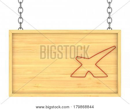 wooden signboard on the chains. Isolated 3D illustration