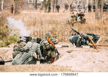 German Gunners Of The Wehrmacht Keep The Defense