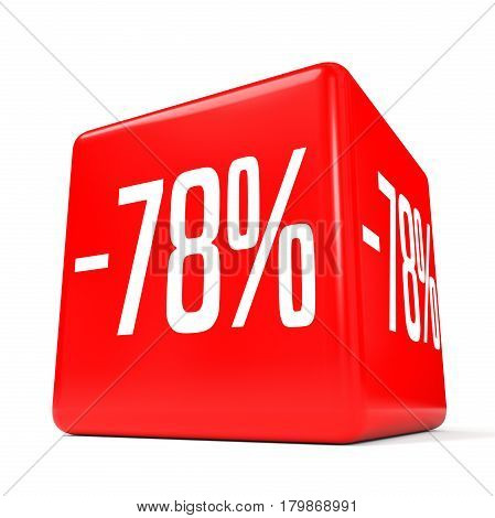Seventy Eight Percent Off. Discount 78 %. Red Cube.