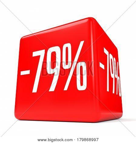 Seventy Nine Percent Off. Discount 79 %. Red Cube.