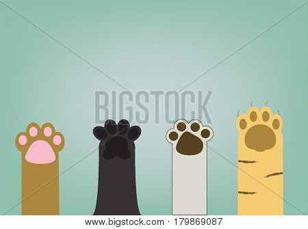 abstract 4 type of cat paws on light blue vintage background