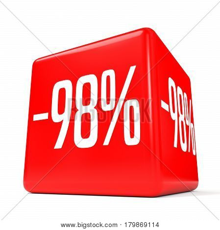Ninety Eight Percent Off. Discount 98 %. Red Cube.