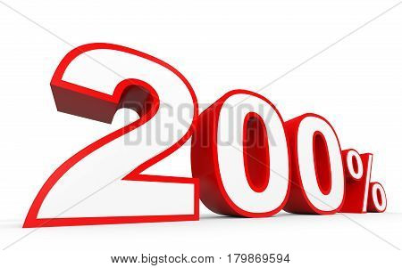 Two Hundred Percent. 200 %. 3D Illustration.