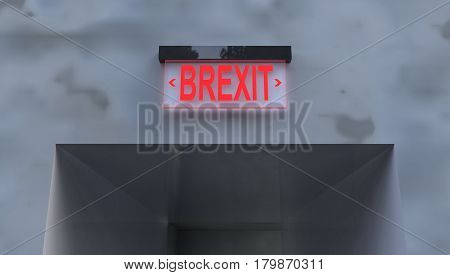Emergency Exit sign Concept 3D Illustration of Britain Exiting EU