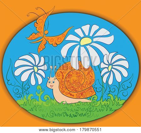 Orange snail and butterfly. Zoo. A child's drawing. Nature. Cartoon characters. Design for children's textiles, pattern, emblems, book, and background image.