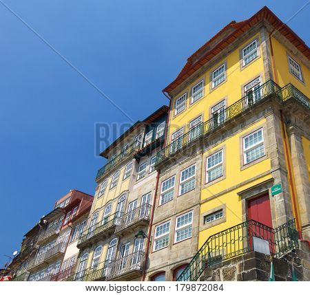 facade in Oporto, Portugal, Europe.