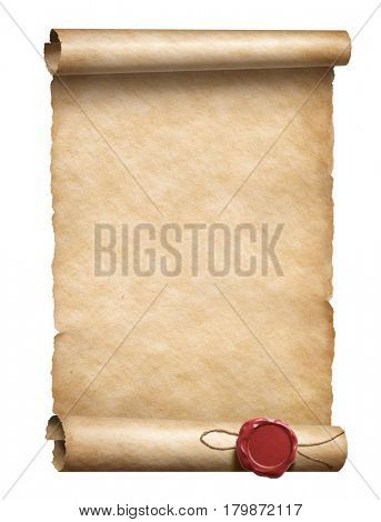 scroll with wax seal 3d illustration