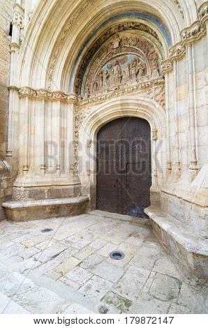 Gothic door of forgiveness in the parish church of Daroca, Zaragoza Province in Spain