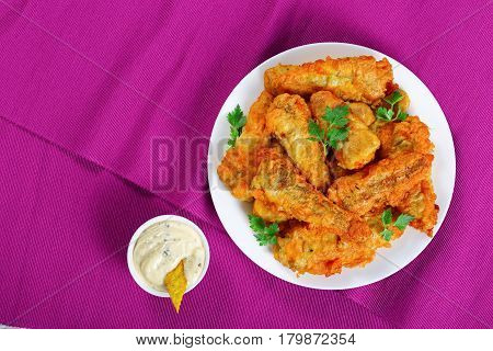Deep Fried Perch Fillets, View From Above
