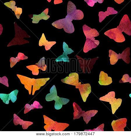 A seamless print with watercolor butterflies, hand painted on a black background