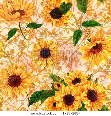 A seamless pattern with hand drawn vibrant yellow sunflowers on a background of intersecting tree branches, vintage style floral repeat print