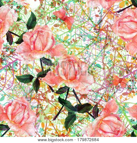 A seamless pattern with a watercolor drawing of a blooming pink rose and butterflies, hand painted in the style of vintage botanical art, on a background of intersecting spring branches