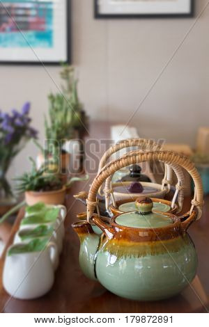 Group Of Hot Ceramic Teapots stock photo