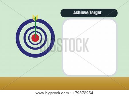 vectot template of acheive on taget and arrow flat design