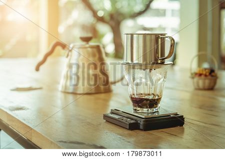 Barista Cafe Making Coffee Preparation Service Concept. vintage effect.