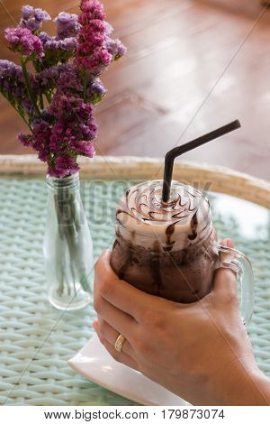 Top View Of Iced Chocolate On Glass Table stock photo