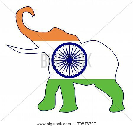 The flag of India over an elephant outline isolated on a white background