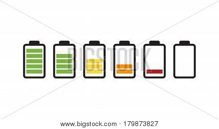 Vector battery icon. Charge from high to low.