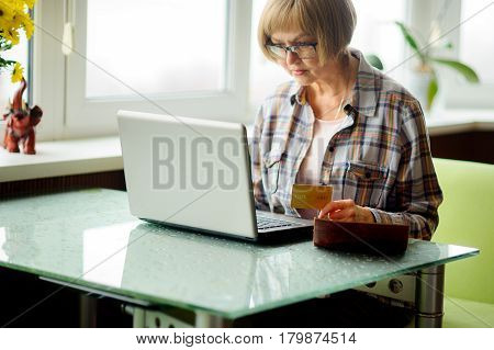 The elderly woman looks in the laptop screen. She uses the computer for payment of accounts.