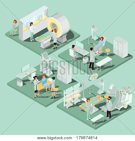 Set of 3D flat isometric illustrations interior of medical premises in the clinic MRI room, ultrasound room, gynecological office, operating room with the appropriate equipment and medical personnel