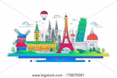 European countries - modern vector line travel illustration. Have a trip, enjoy your vacation. Be on a safe and exciting journey. See great landmarks such as eiffel tower, the tower of pisa, windmill, cathedral, balloon, palace