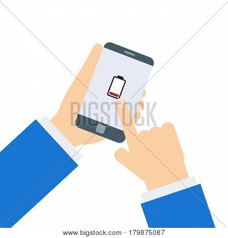 Two hands holding phone with low battery. Battery running out of charge image