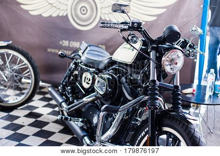 Kyiv city, Ukraine - September 10, 2016 : The fourth international festival of custom culture, masters and technique amateurs. Exhibits cars motorcycles bicycles