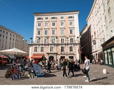 SALZBURG AUSTRIA - APRIL 29 2016: Cafe in the Alter Market in the old town Salzburg Austria