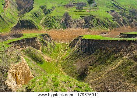 Shapes of early spring landscape - soil erosion in Ukraine.