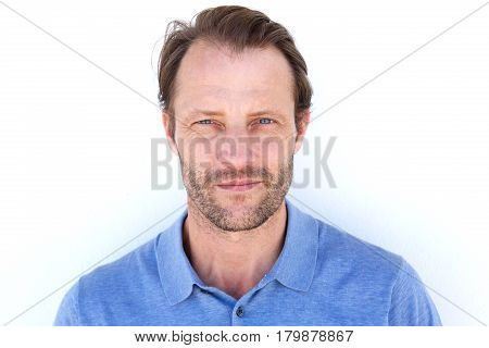 Serious Handsome Man Against White Background