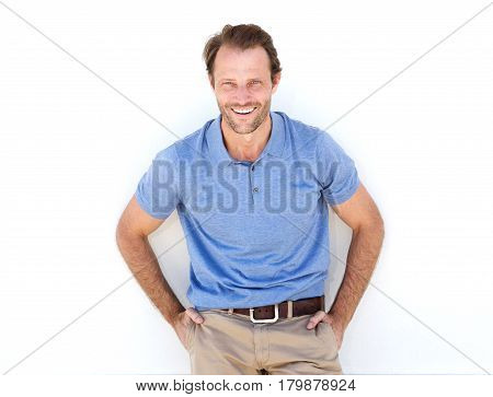 Male Fashion Model Laughing Against White Background