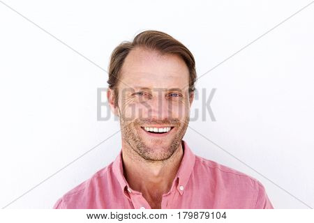 Close Up Attractive Man Smiling Against White Background
