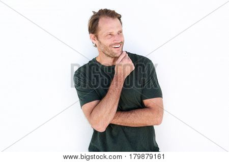 Happy Man Smiling Against White Wall