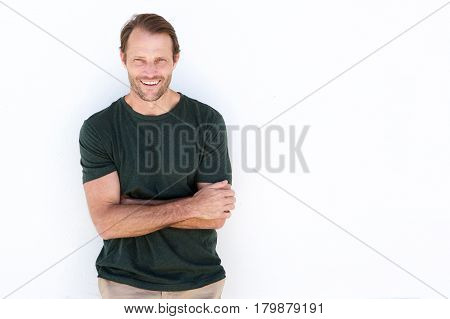 Confident Man Smiling Against White Background